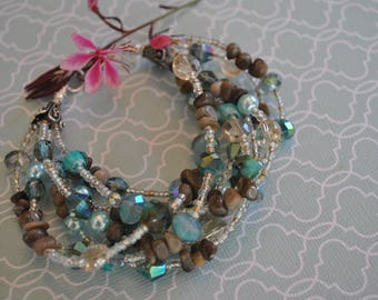 7 Strand Petoskey Stone Bracelet with pearls, seed beads and teal crystals, Up North jewelry, Lake Michigan, fossil coral