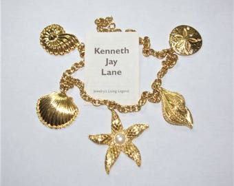 Kenneth Jay Lane Necklace - GP Nautical Seashells Starfish - S2124