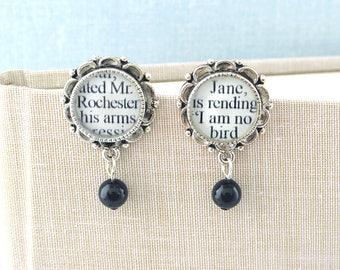 Jane Eyre Pearl Drop Earrings - Literary Jewelry - Charlotte Bronte - Literary Earrings - Jane Eyre Book Earrings - Literary Wedding