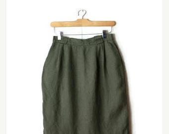 ON SALE Vintage Olive Green High waist  Linen Pencil Skirt from 90's/W24-26*