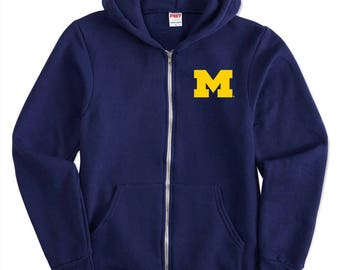 Michigan Wolverines Primary Logo Youth American Apparel Zip Hoodie - Navy