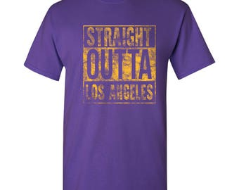 Straight Outta Los Angeles Basic Cotton T-Shirt - Purple