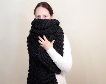 Large Knit Scarf Huge Scarf Chunky Long Wool Scarf Oversized Scarf Open Ended Scarf Womens Scarf Big Scarf THE HARRISON
