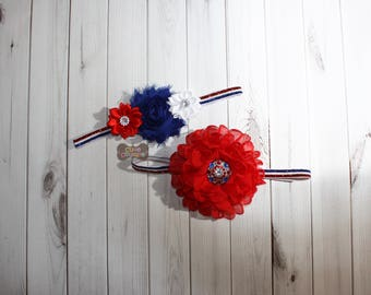4th of JULY HEADBAND-Red, white and blue, Boutique Style-July 4th Headband, 4th of July Bow-My first 4th, All American Headband, Baby girl