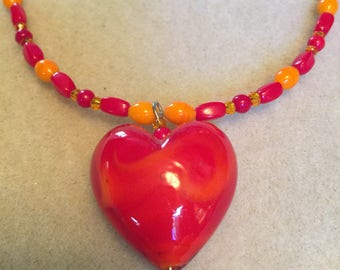 Red, Yellow Glass Beaded Necklace, Glass Heart Pendant, Glass Beaded Necklace, One of a Kind Beaded Jewellery Gift for Her