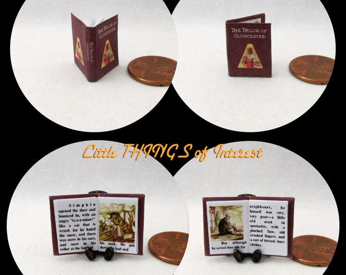 The TAILOR Of GLOUCESTER Dollhouse Miniature Book 1:12 Scale Illustrated Book Beatrix Potter Cat Mouse