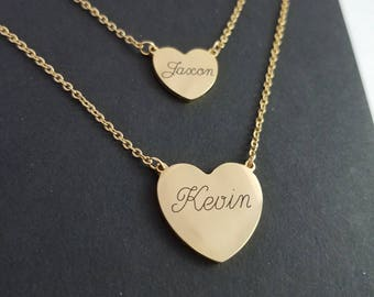 Custom Engraved - Double Heart Necklace - Layering Necklace - Heart Pendant - Gold Heart Necklace - Personalized Jewelry - Dainty Necklace