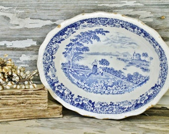 Antique Bowl White Ironstone Flow Blue Farmhouse French Fixer Upper Decor Scallop Vegetable Bowl STAFFORDSHIRE  English Ironstone
