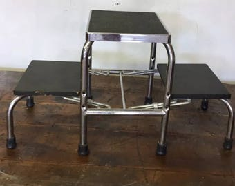 Vintage E.F. BREWER Folding Chrome Mid Century Doctor Medical Step Stool