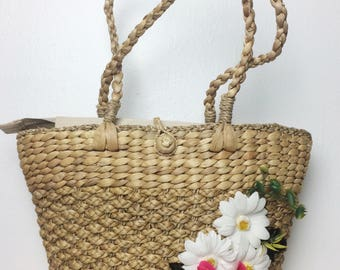 Straw Summer Bag/ 80s Straw Floral Bag/ Straw Purse