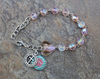 Silver - Alphabet Letter A - 8mm AB Pink Crystal One Decade Catholic Rosary Bracelet
