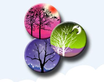 EVENING SKIES - 1 and 1.5 inch round images for glass and resin pendants, bottle caps, round bezel trays. Instant Download #249.