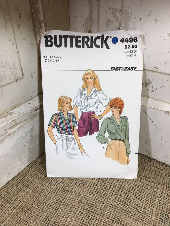 Vintage sewing pattern, Butterick 4496 1986 sewing pattern for three styles of loose fitting blouse, super retro sewing pattern