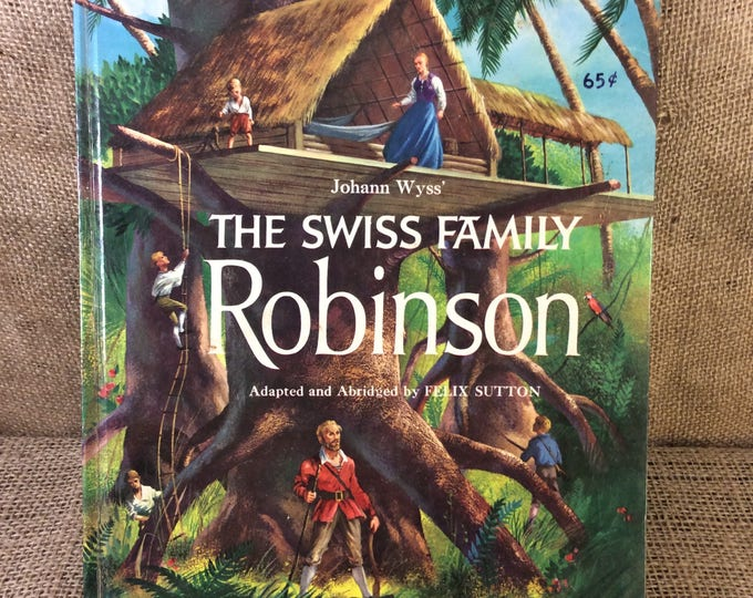 Super vintage large book of The Swiss Family Robinson written by Johann Wyss from 1960, vintage childrens book, memories of reading books
