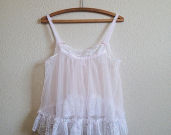 Lace Pink Babydoll Small - Sheer Nylon Nightgown