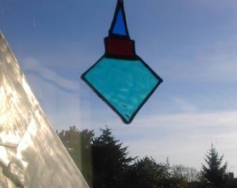 Stained glass Christmas tree decoration, hand made