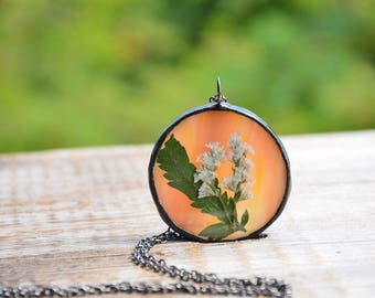 nature pendant, pressed flower jewelry, nature lover, glass necklace, botanical gift, wedding boho jewelry, gift for mom