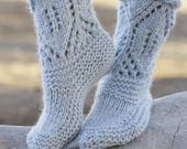 100% Wool Ladies Slipper Socks - Gorgeous lacy pattern - Great gift for any occasion - Handmade with love...