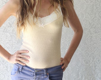 Vanilla Lace Camisole Vest Top with White Lace Trim Intimates from Brighton Lace