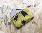 Leaf Pattern Coin Purse in Mustard// Plant Lover Coin Pouch Tropical Leaf Screen Printed Pouch