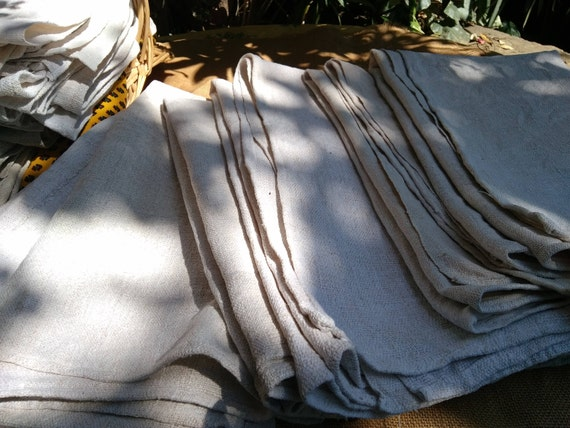 Large Victorian 19th C. Hemp Bath Towel White Hemp Rustic Woven Dying Sewing Project Home Decor #sophieladydeparis   #Ref 3- 5 -6 - 7