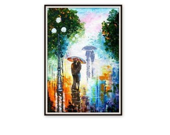 Original Abstract Painting Acrylic - A Couple With Umbrella 2 - Rainy night - Night Street - Colorful Abstract Palette Knife - Made to order