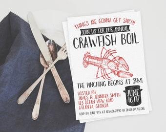 Crawfish Boil Invitation. Crawfish Boil Invitation. Crawfish Invitation. Seafood Party. Crawfish Party. Crawfish Boil. Seafood Invitation.