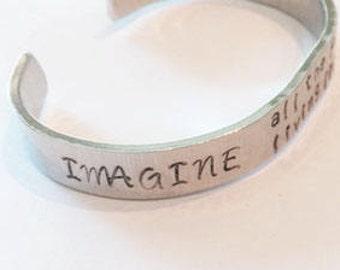 IMAGINE Hand Stamped Cuff Bracelet - John Lennon Inspired