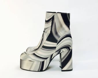 Psychedelic platform shoes disco discotheque pattern gr. 35 70s