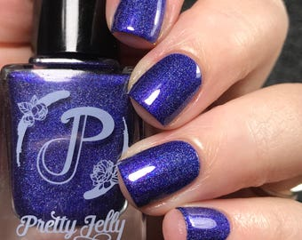 Indigo Blue Nail Polish, Holographic Nail Lacquer, Shimmer, Indie Nail Polish, Handmade Custom Color, Gift For Her, Vegan, ALL THAT JAZZ