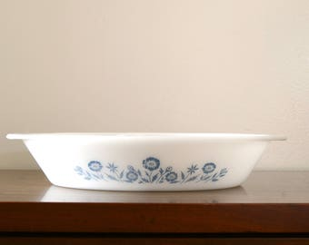 Blue floral milkglass divided casserole dish