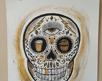 Chicago Poster Artist Signed Dan Grzeca 18 x 24 Foutainhead Craft Brew Beer Dia de los Muertos Fest Chicano Urban Art Culture Sugar Skull