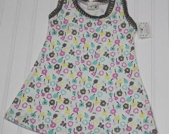 6-12m Waving Buds Knit Tank Dress, Girls Floral Tank Top Dress, Spring Summer Dress