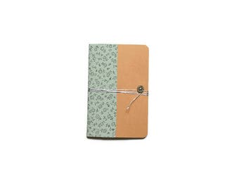 Notebook Format A6 - cover in fabric color mint