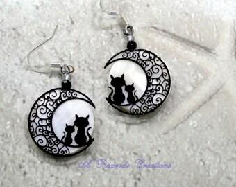 Black Cat Earrings Harvest Moon Jewelry Handmade Cat Lover Jewelry Cat and Moon Earrings Cat Earrings Cat Jewelry Novelty Jewelry Gift Idea