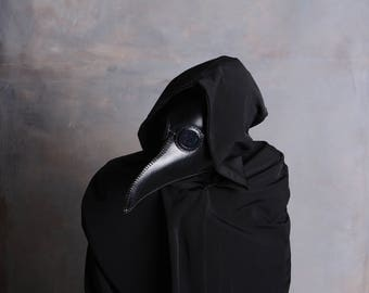 Plague Doctor Mask, Leather Mask, Steampunk. Halloween Mask, Raven, Cosplay, Costume, Black