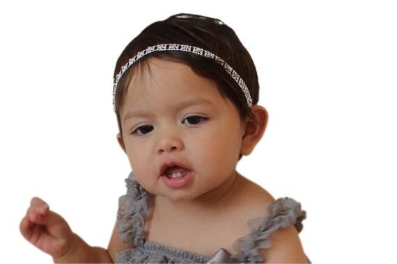 Rhinestone Headband, Silver Headband, Baby Halo Headband, Infant Headbands, Baby Headband, Wedding Headband, Baptism Headband.