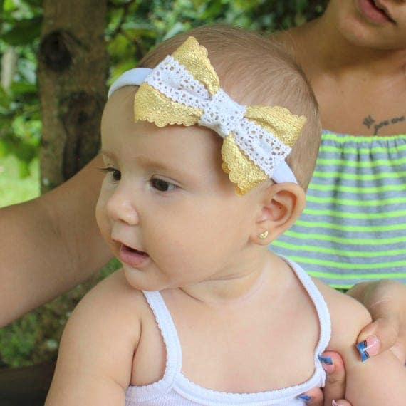 Baby Gold Headband, Fall Headband, Baby Bows, Bows for Girls, Baby Bow Headband, Gold Hair Bow, Birthday Headband, Bows Headbands