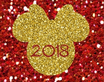 DIY 2018 Minnie Head Personalized New Years Eve Sparkly Glitter Bow Name Iron On Decal Custom Color Baby Girls Womens Adult