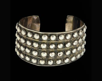 Vintage Mexican Silver Repousse Studded Cuff Bracelet Taxco