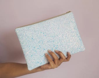 Subtle Blue & Rose Gold Glitter Clutch, White Sparkly Bag, Bridesmaid Gifts, Spring Wedding Bag, Glitter Party Bag,
