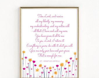 St. Ignatius Loyola Prayer | Catholic Art | 8x10 Print
