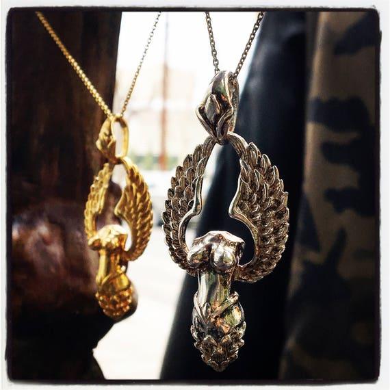 Etherial Jewelry - Rock Chic Talisman Luxury Biker Custom Handmade Artisan Pure Sterling Silver .925 Handcrafted Angel Designer Pendant