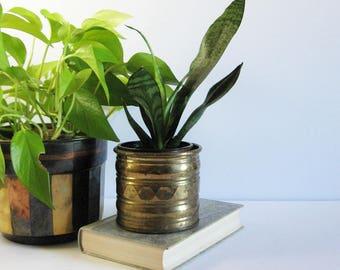 Vintage Small Brass Planter - 4 Inch Brass Pot - Brass Home Decor - Indoor Garden Pot - Succulent Planter - Brass Cactus Pot - Pencil Holder