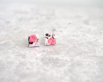 Pink Stud Earrings, Square Earrings for Sensitive Ears, Leather Jewelry, One of a Kind Gift for Her