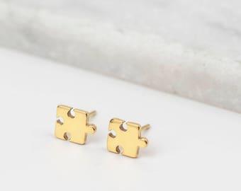 Gold Jigsaw Earrings • Jigsaw Studs • Puzzle Piece Earrings • Dainty Gold Studs • Jigsaw Stud Earrings • Tiny Gold Studs • Best Friend Gift