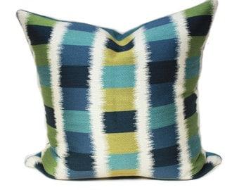 Blue ikat pillow, ikat pillow cover, Knoll textiles, ikat square refresh pillow