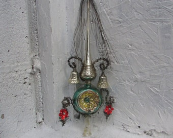 Victorian Era Mercury Glass Tree Topper Point with Mica Wire and Tinsel and 2 Miniature Bells. Made in West Germany.  In Original Box.