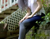 Gray and Navy Yoga Pants, Ombre Leggings, Handmade by Om Beautiful