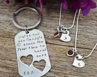 Daddy Daughters Jewelry, Father Daughter Set, Personalized Dad Daughter Gift, Daughter Necklace, Dad Keychiain, Father Keychain, Two girls